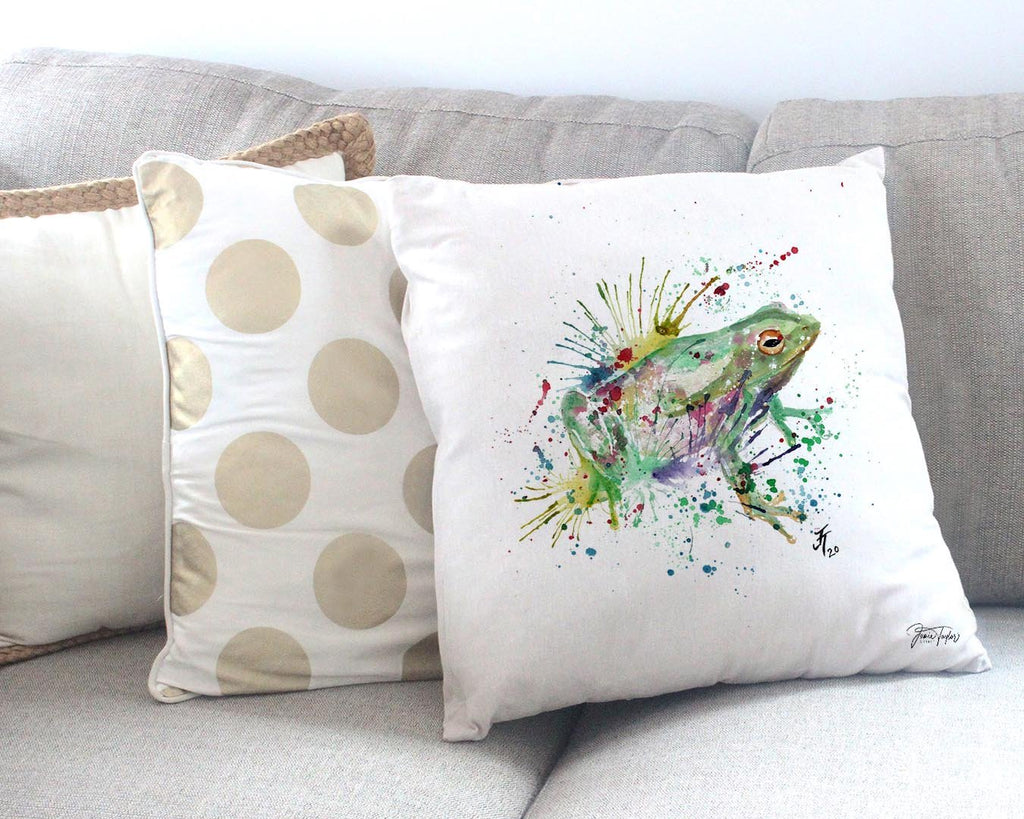 """Ribbit"" Frog Canvas Cushion Cover"