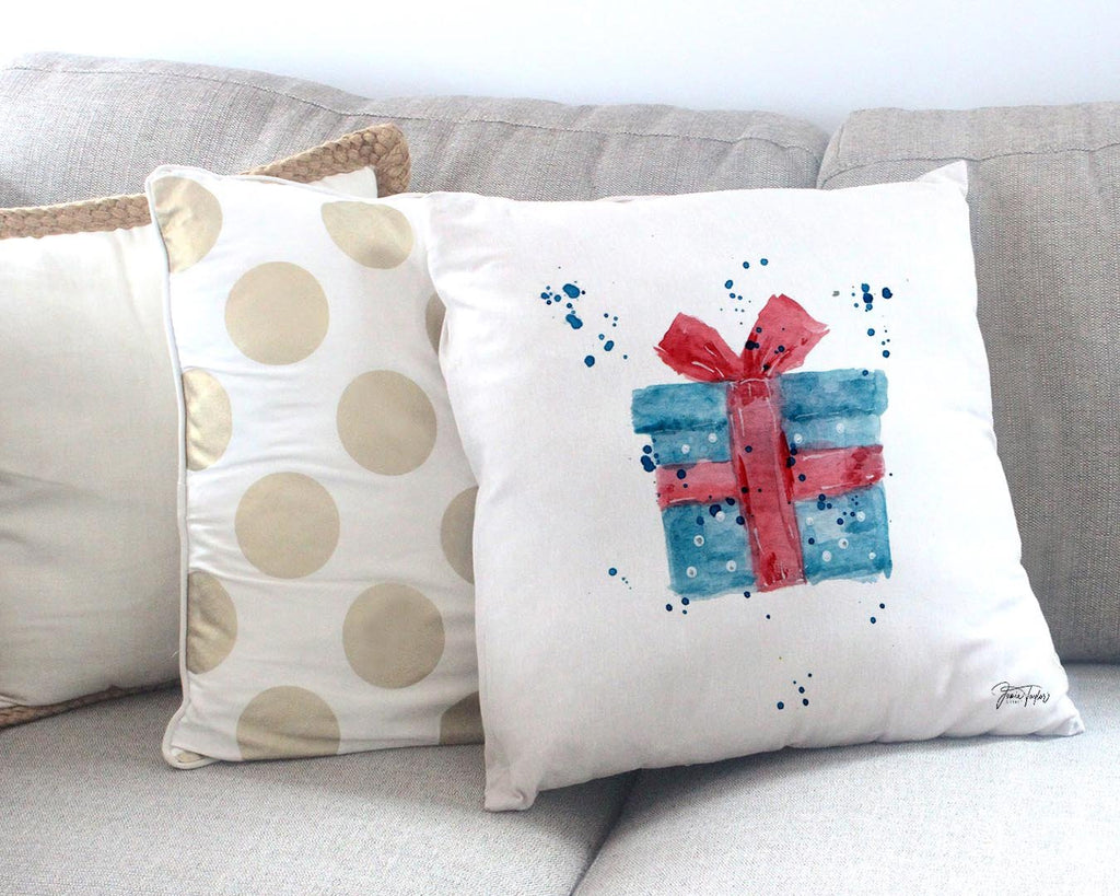 Christmas Present Canvas Cushion Cover