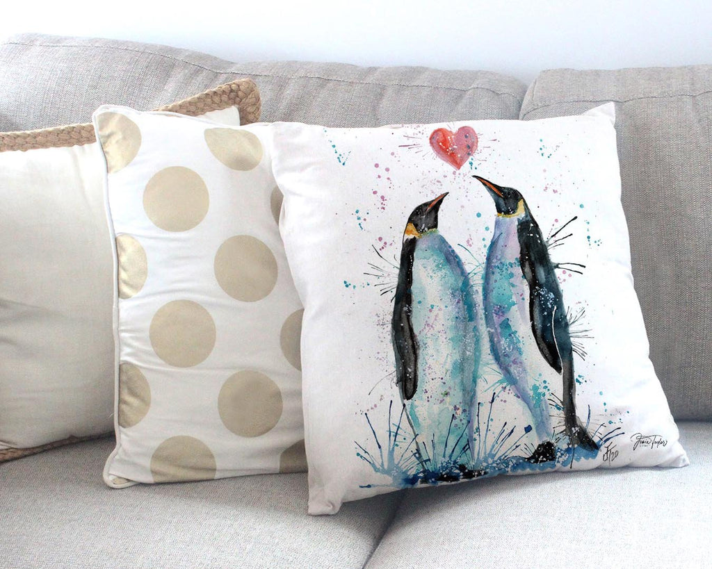 Heart Penguins Canvas Cushion Cover