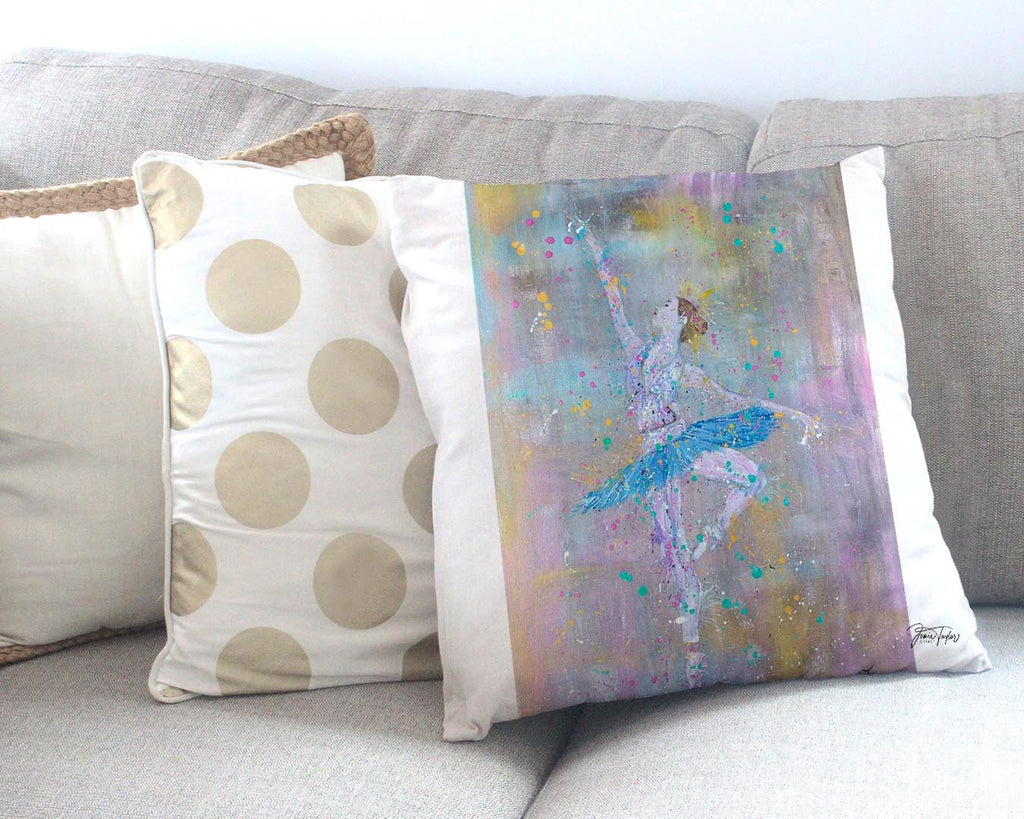 """Dainty"" Ballerina Canvas Cushion Cover"