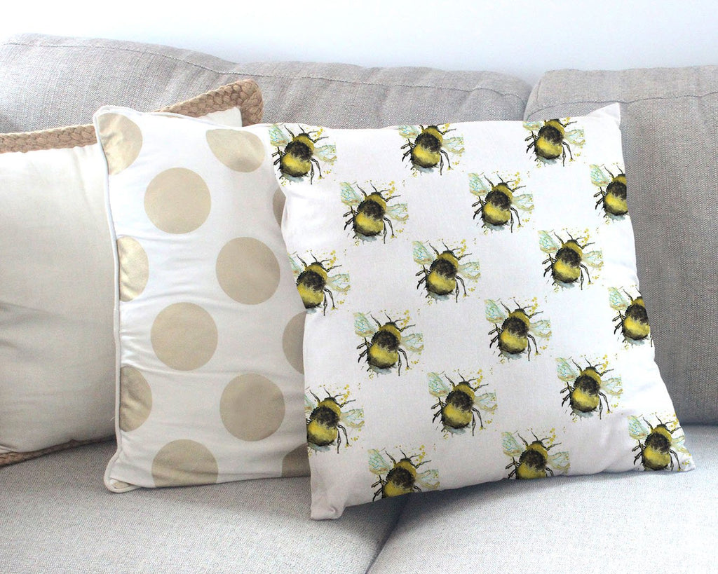 Bumble Bee Repeat Canvas Cushion Cover