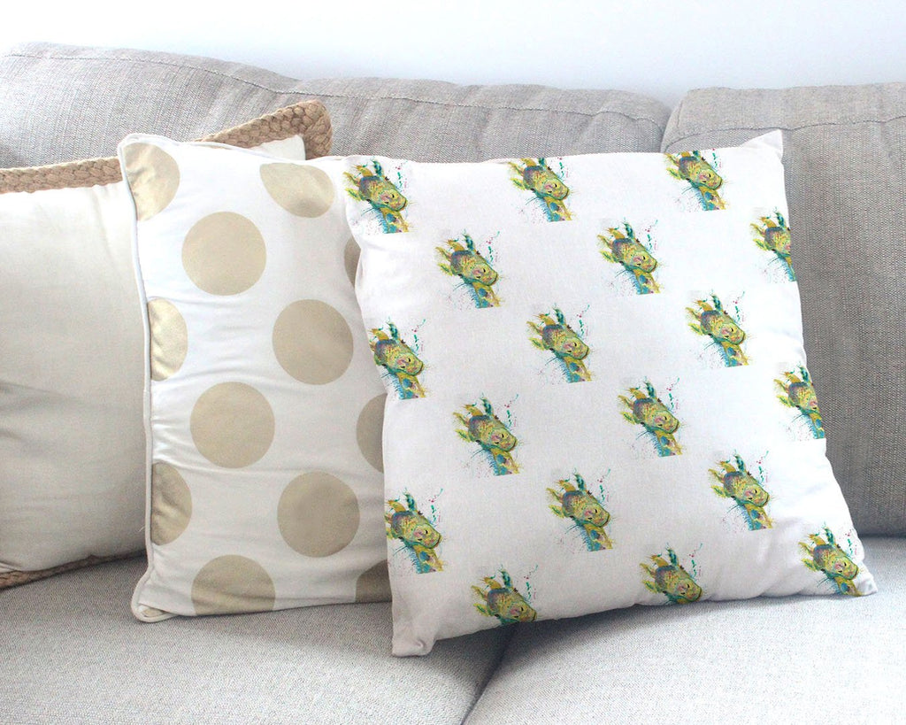 """Hattie"" Giraffe Repeat Canvas Cushion Cover"