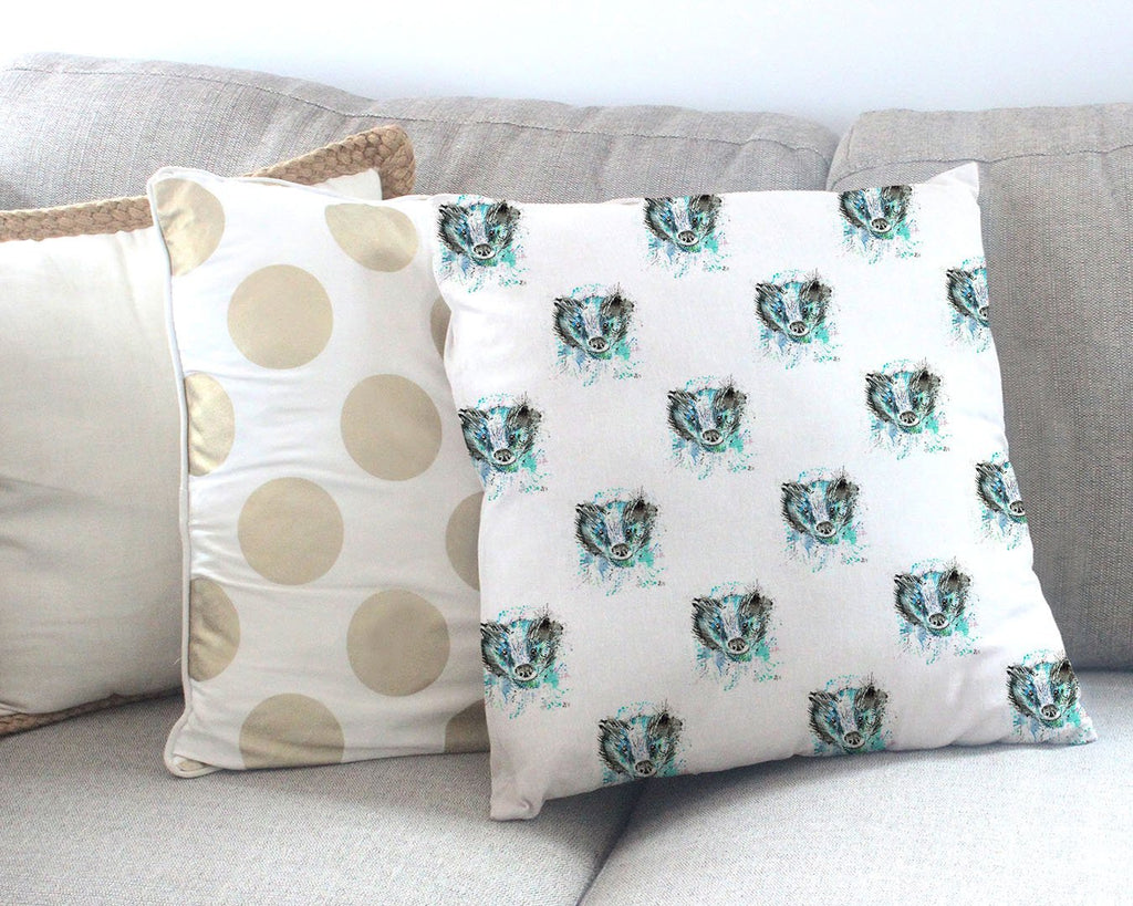 """Baz"" Badger Repeat Canvas Cushion Cover"