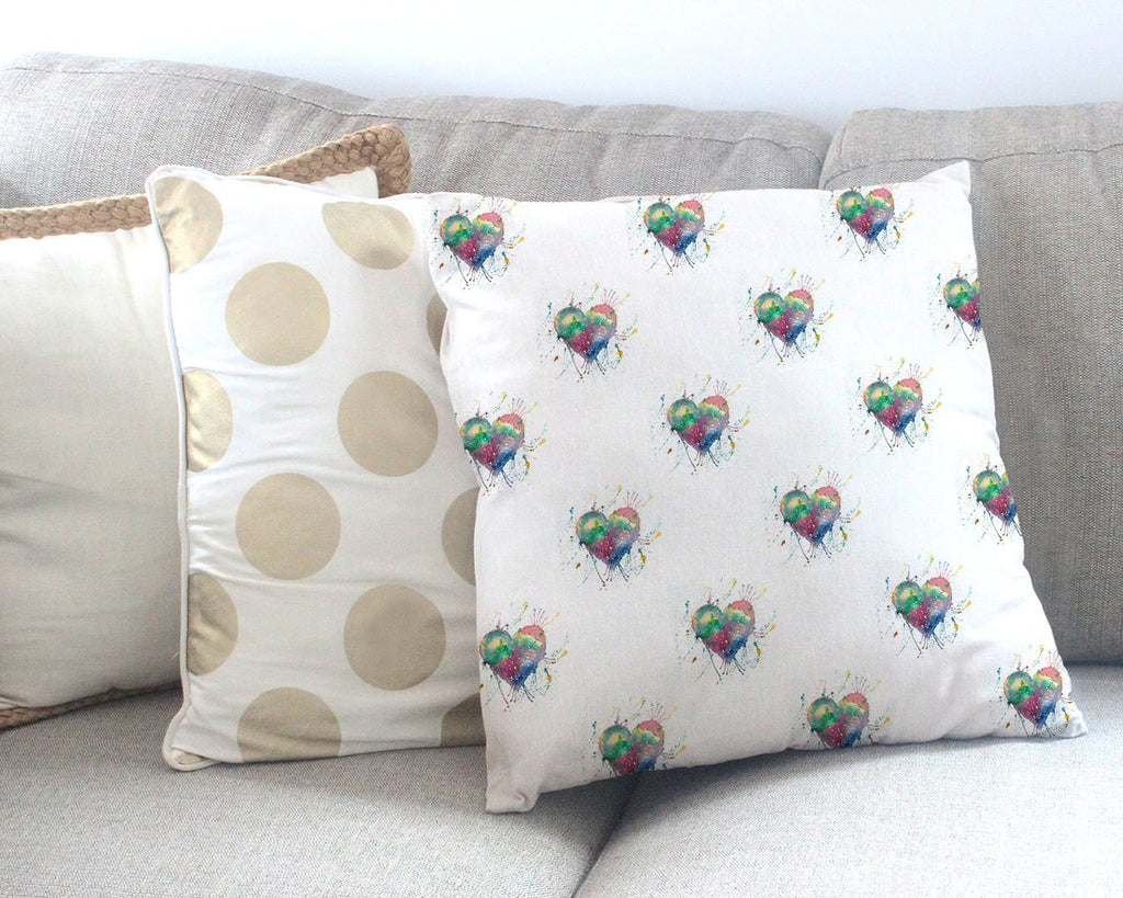 Heart Repeat Canvas Cushion Cover