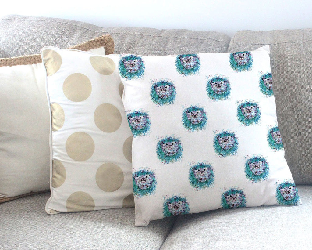 """Maisey"" Hedgehog Repeat Canvas Cushion Cover"