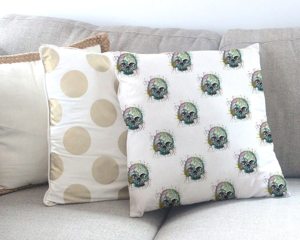 Blue Skull Repeat Canvas Cushion Cover