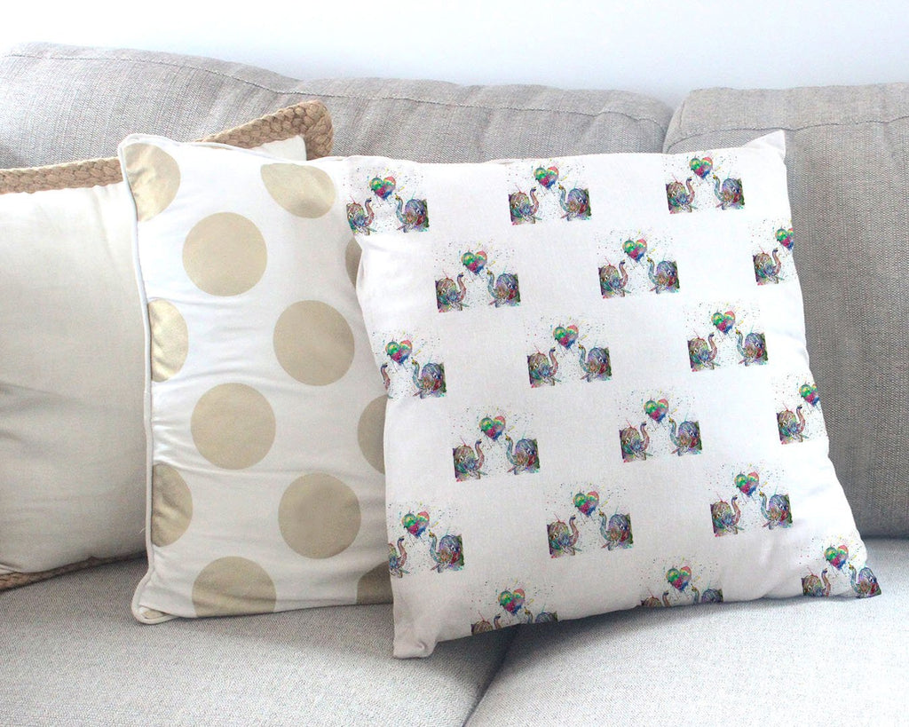 Romantic Elephants Repeat Canvas Cushion Cover