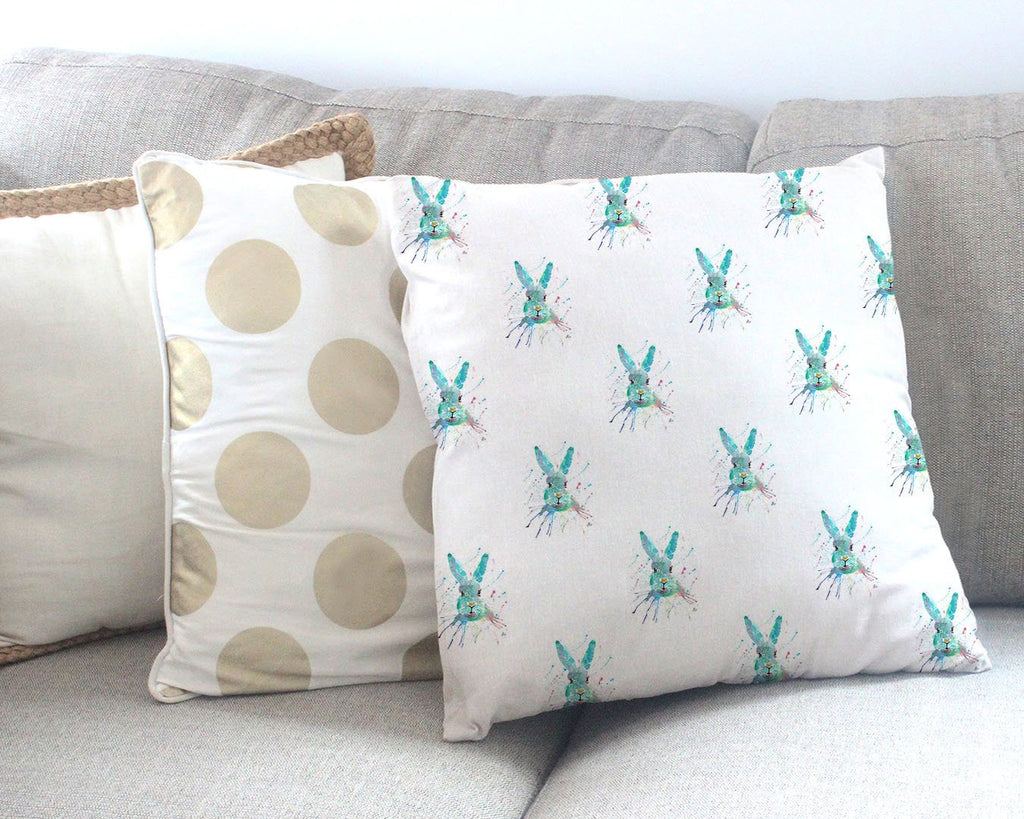 """Minty"" Hare Repeat Canvas Cushion Cover"