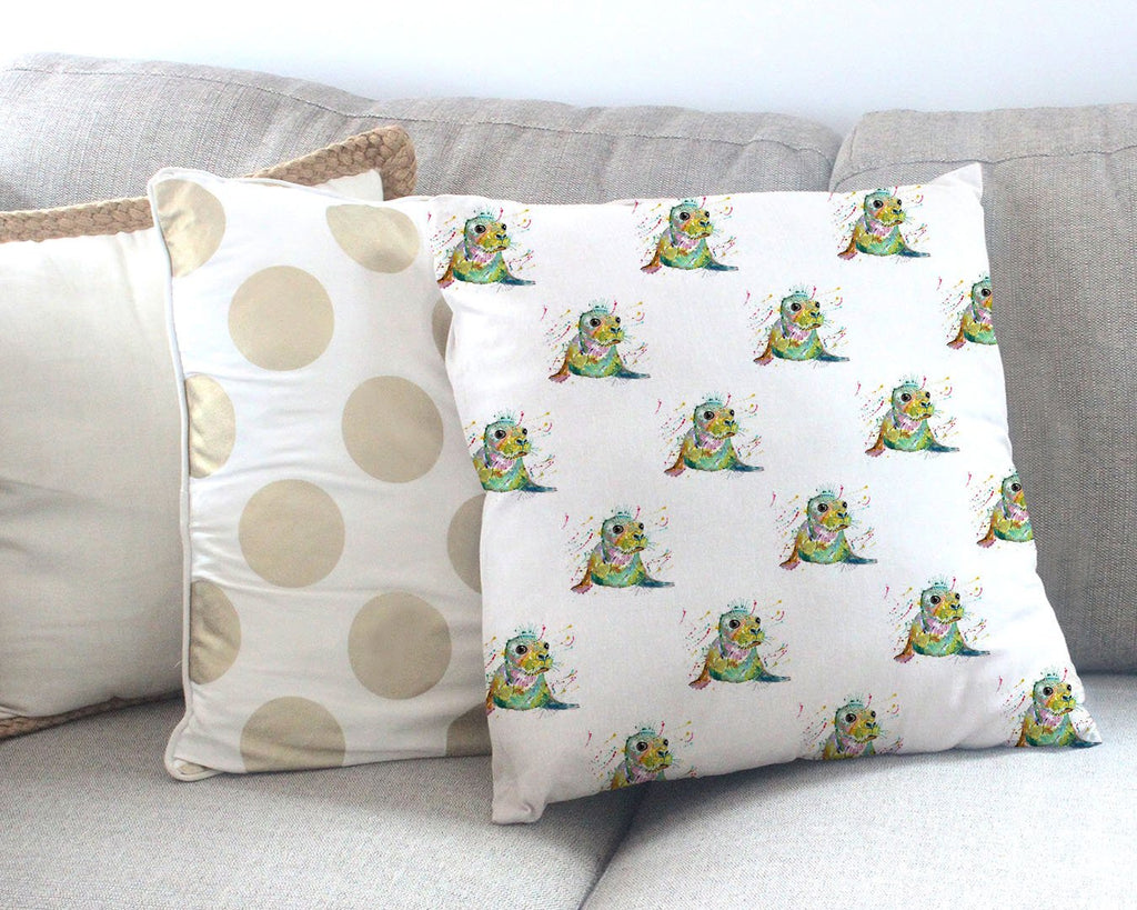 """Toby"" Seal Repeat Canvas Cushion Cover"
