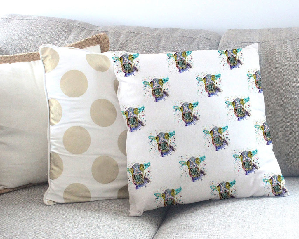 """Daisy"" Cow Repeat Canvas Cushion Cover"
