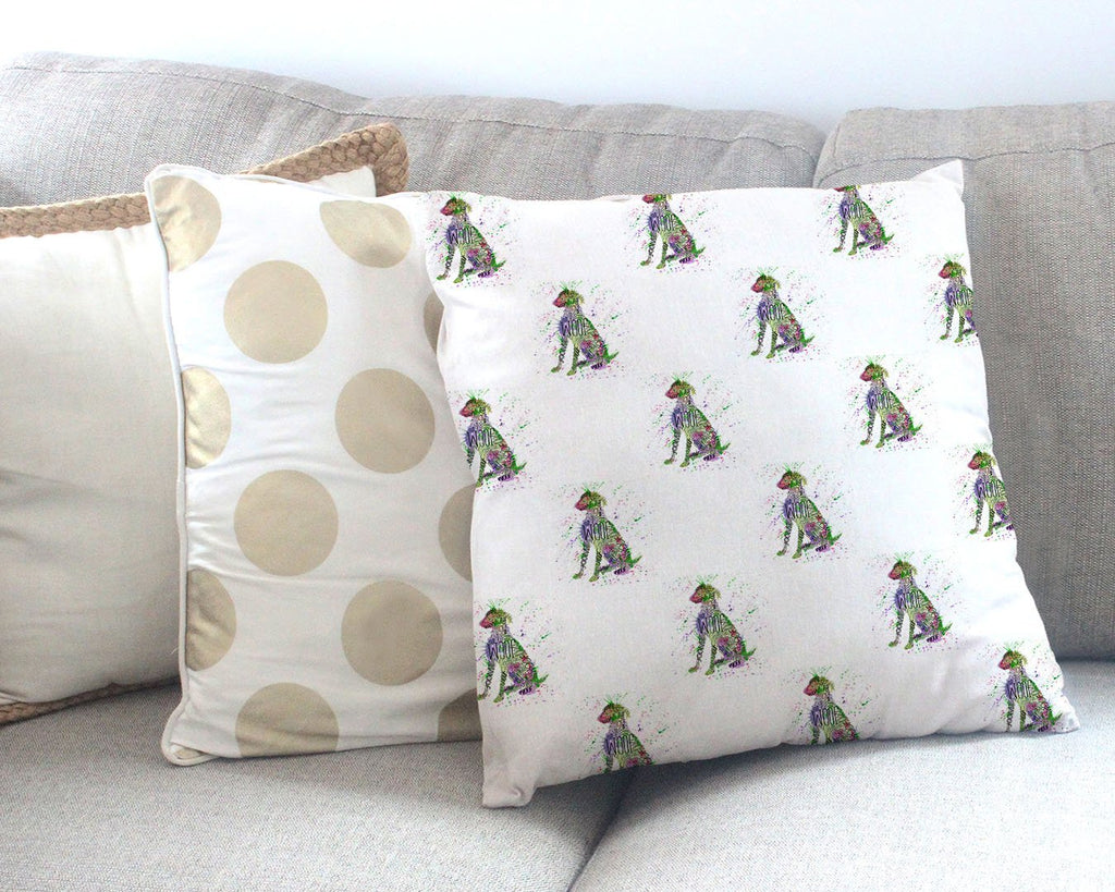 """Woof"" Green Repeat Canvas Cushion Cover"