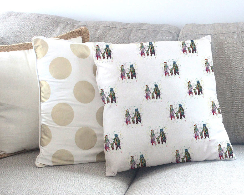 Mummy, Babby, Daddy Bears Repeat Canvas Cushion Cover