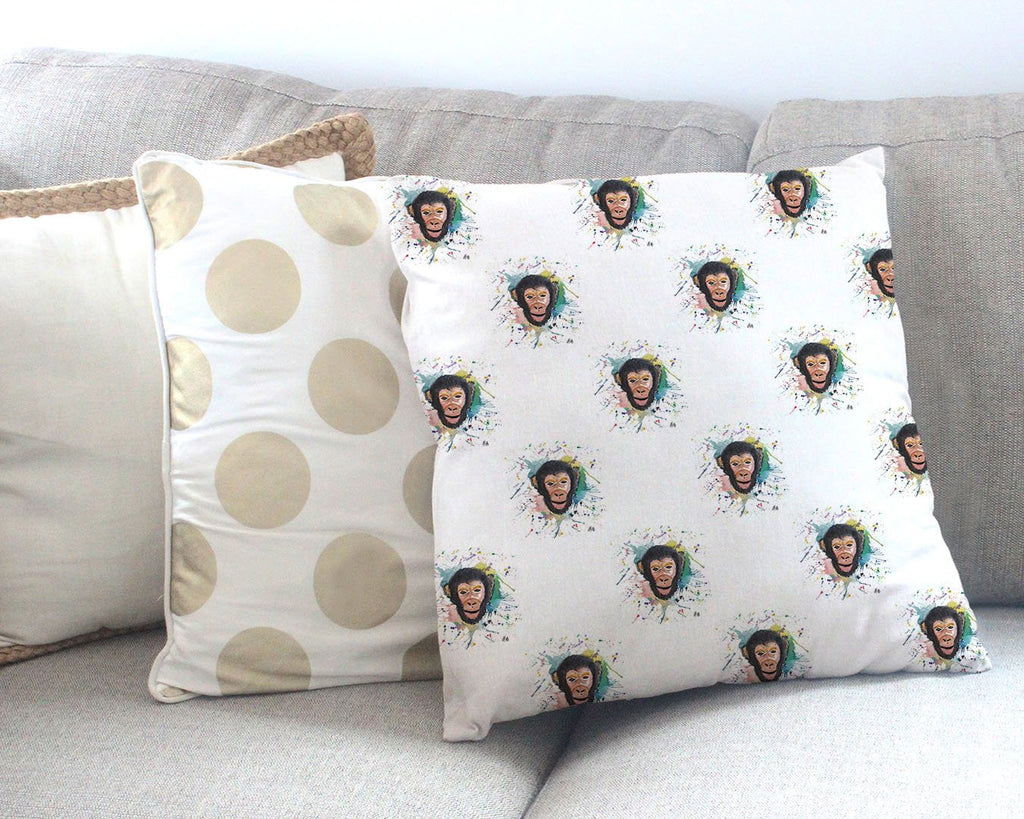 """Ciril"" Monkey Repeat Canvas Cushion Cover"