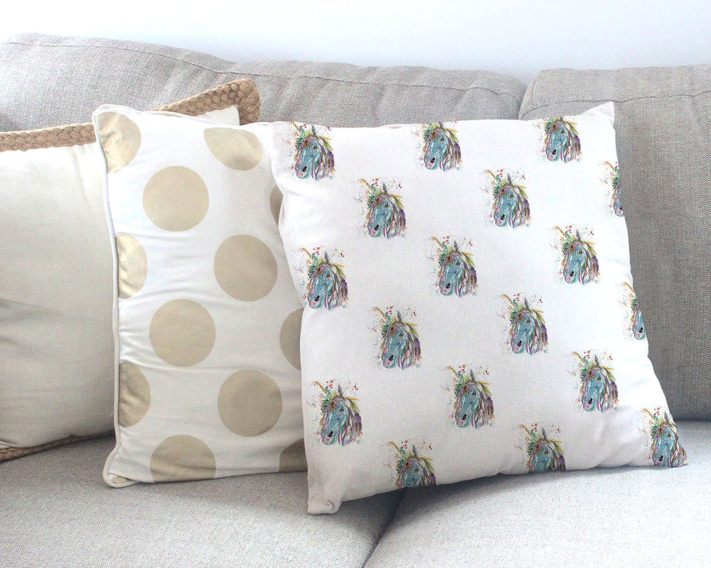 """Millie"" Unicorn Repeat Canvas Cushion Cover"