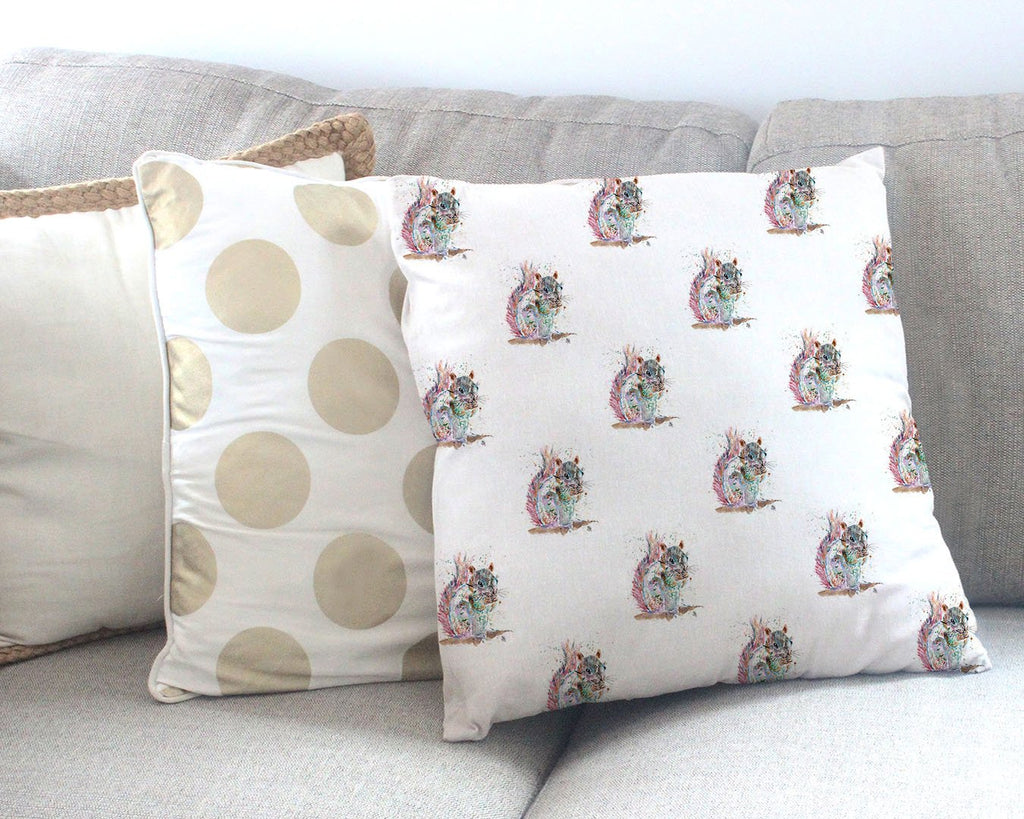 """Nige"" Squirrel Repeat Canvas Cushion Cover"