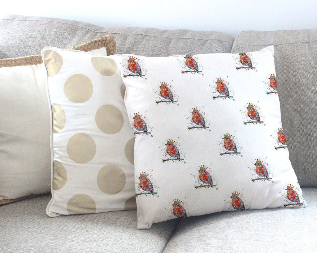 """Clancy"" Robin Repeat Canvas Cushion Cover"