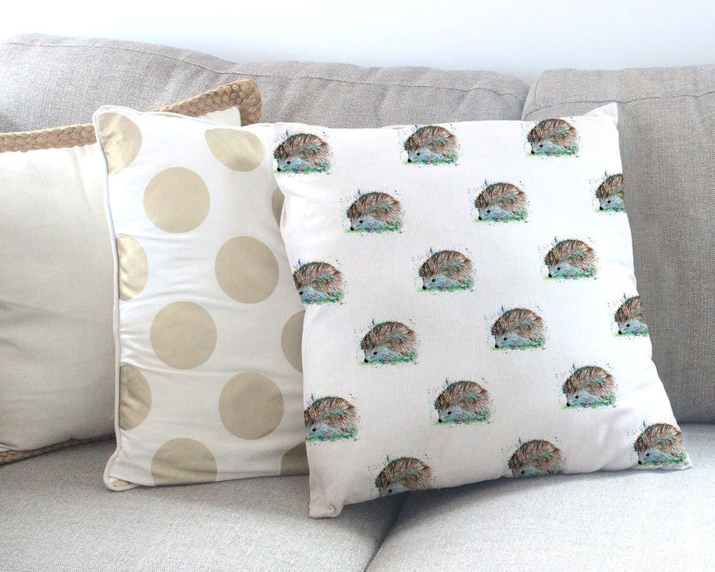 """Sweet"" Hedgehog Repeat Canvas Cushion Cover"