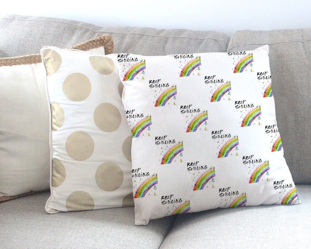 """Keep Smiling"" Rainbow Repeat Canvas Cushion Cover"