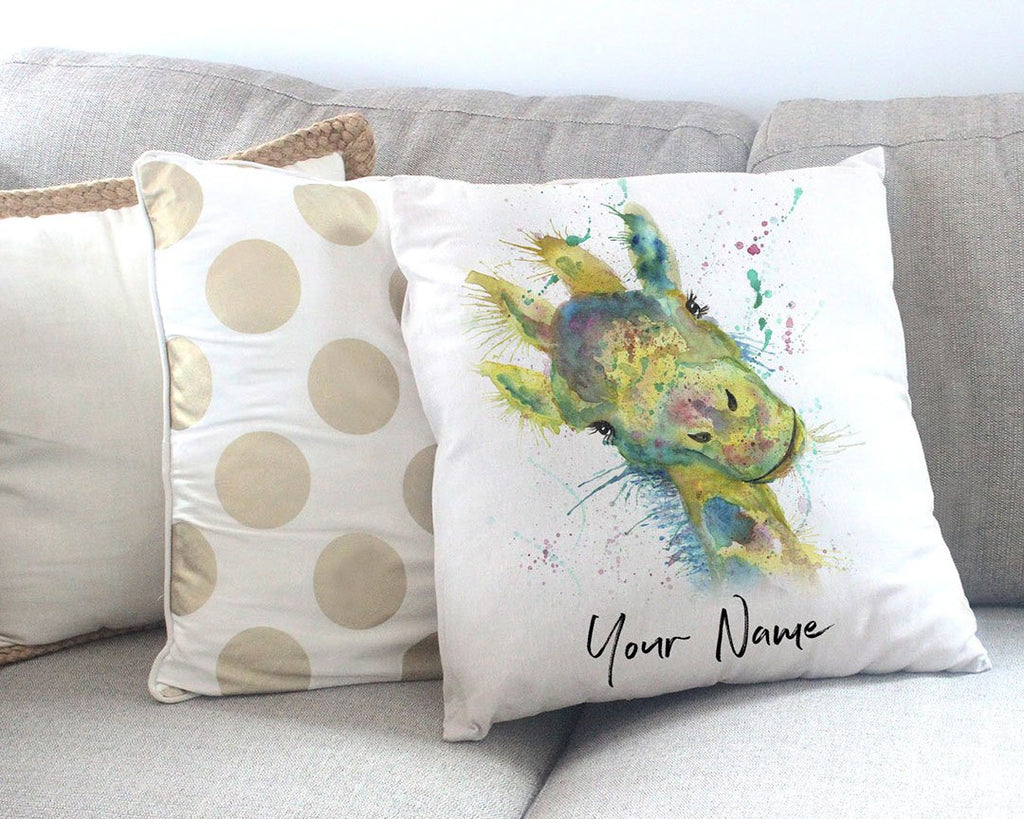 """Hattie"" Giraffe Personalised Canvas Cushion Cover"