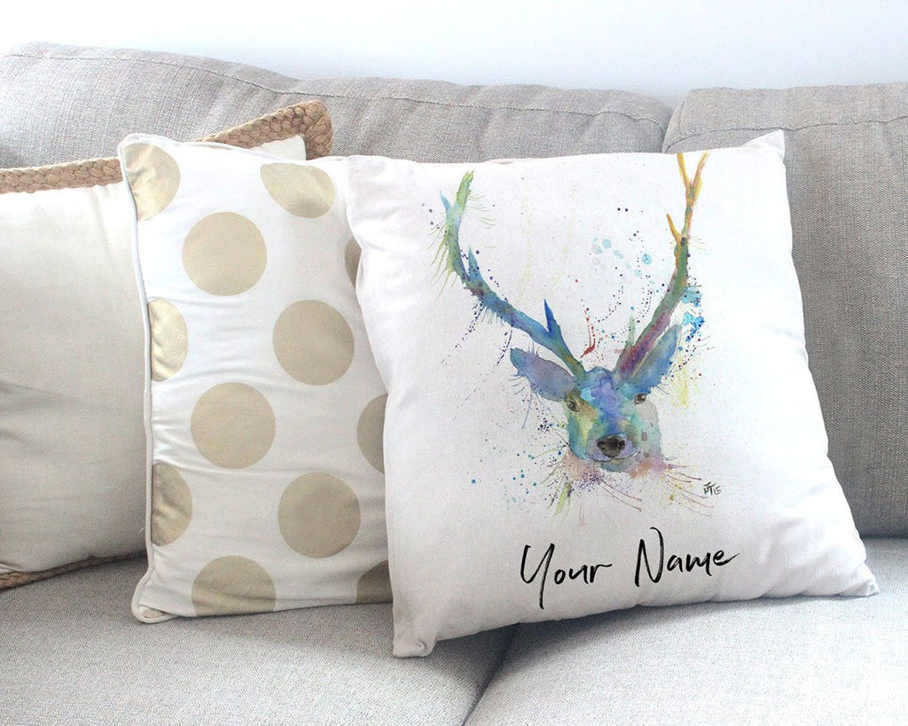 """Bruce"" Stag Personalised Canvas Cushion Cover"