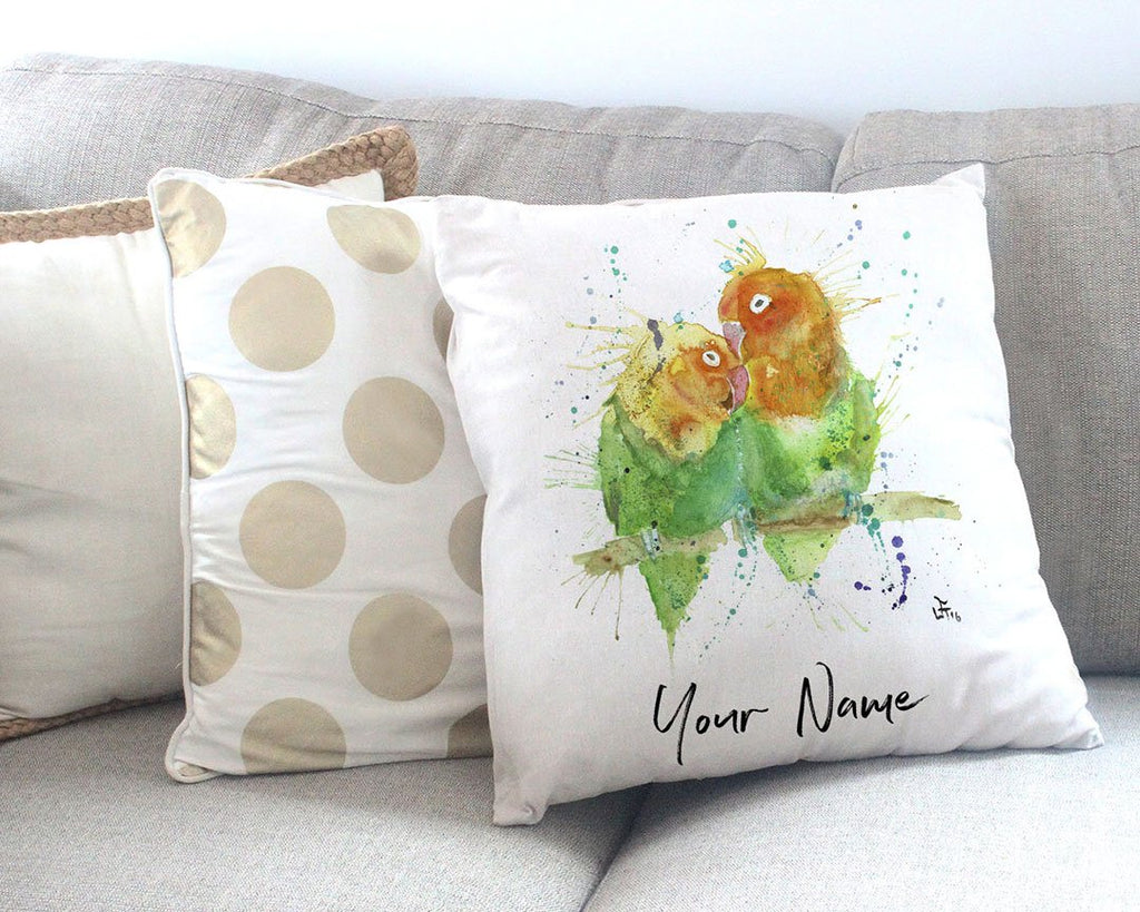Love Birds Personalised Canvas Cushion Cover