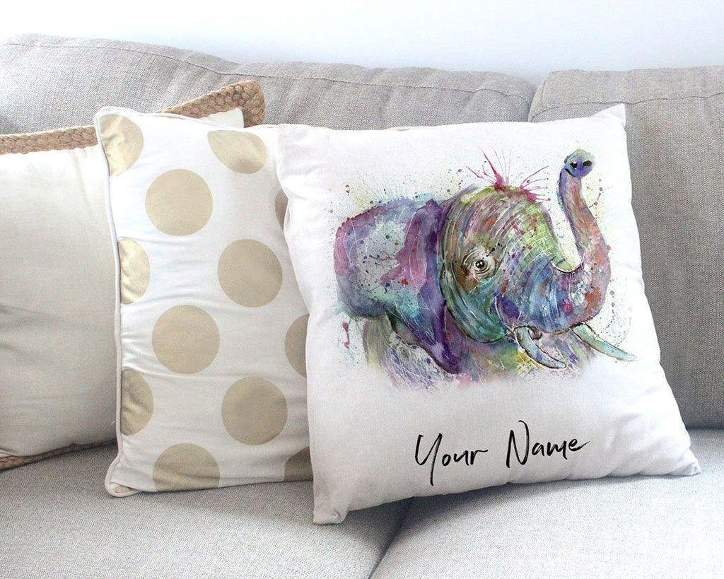 """Ele"" Elephant Personalised Canvas Cushion Cover"