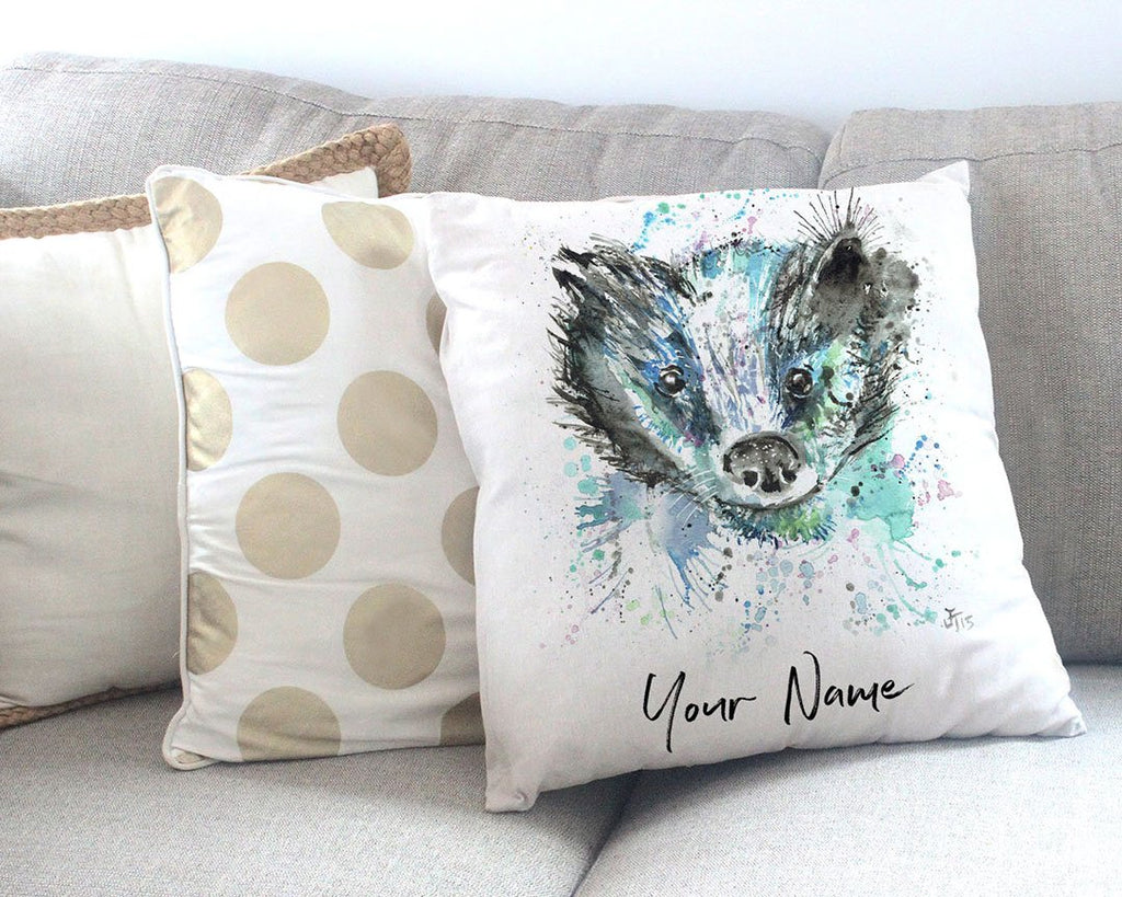 """Baz"" Badger Personalised Canvas Cushion Cover"