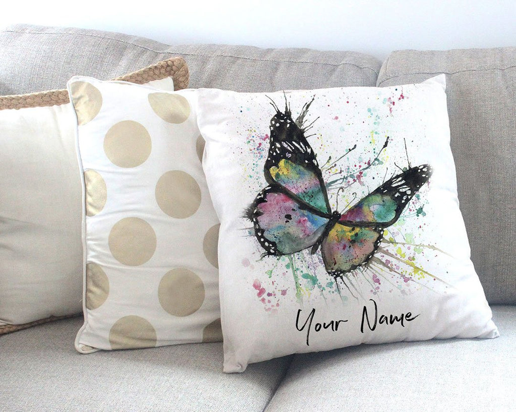 """Flutter"" Butterfly Personalised Canvas Cushion Cover"