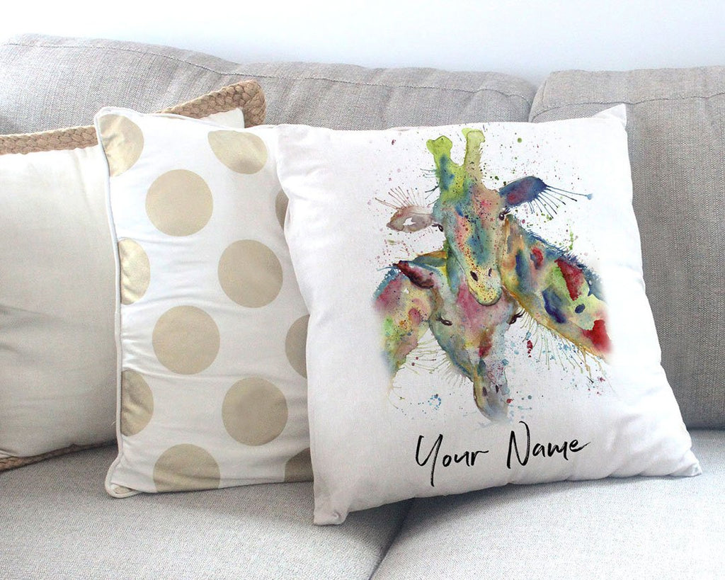 Love Giraffes Personalised Canvas Cushion Cover