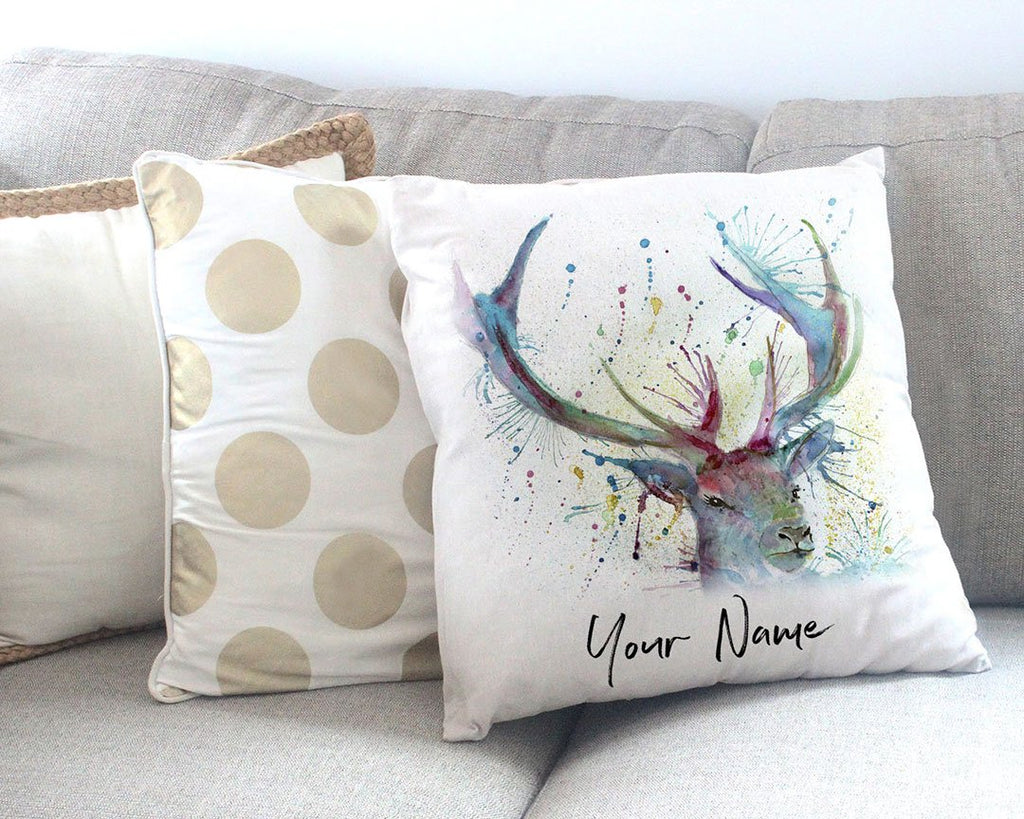 """Proud"" Stag Personalised Canvas Cushion Cover"