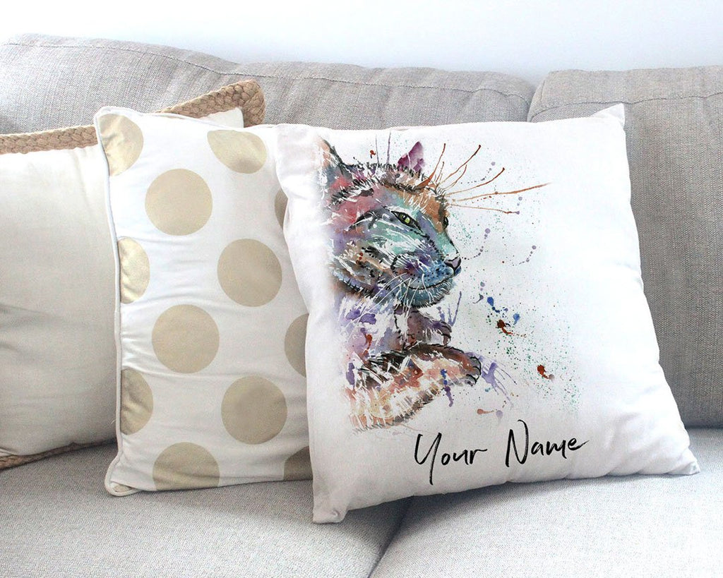 """Dave"" Cat Personalised Canvas Cushion Cover"