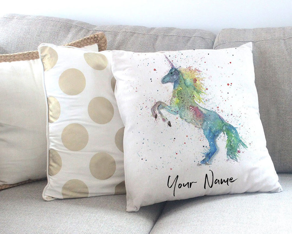 Rainbow Unicorn Personalised Canvas Cushion Cover
