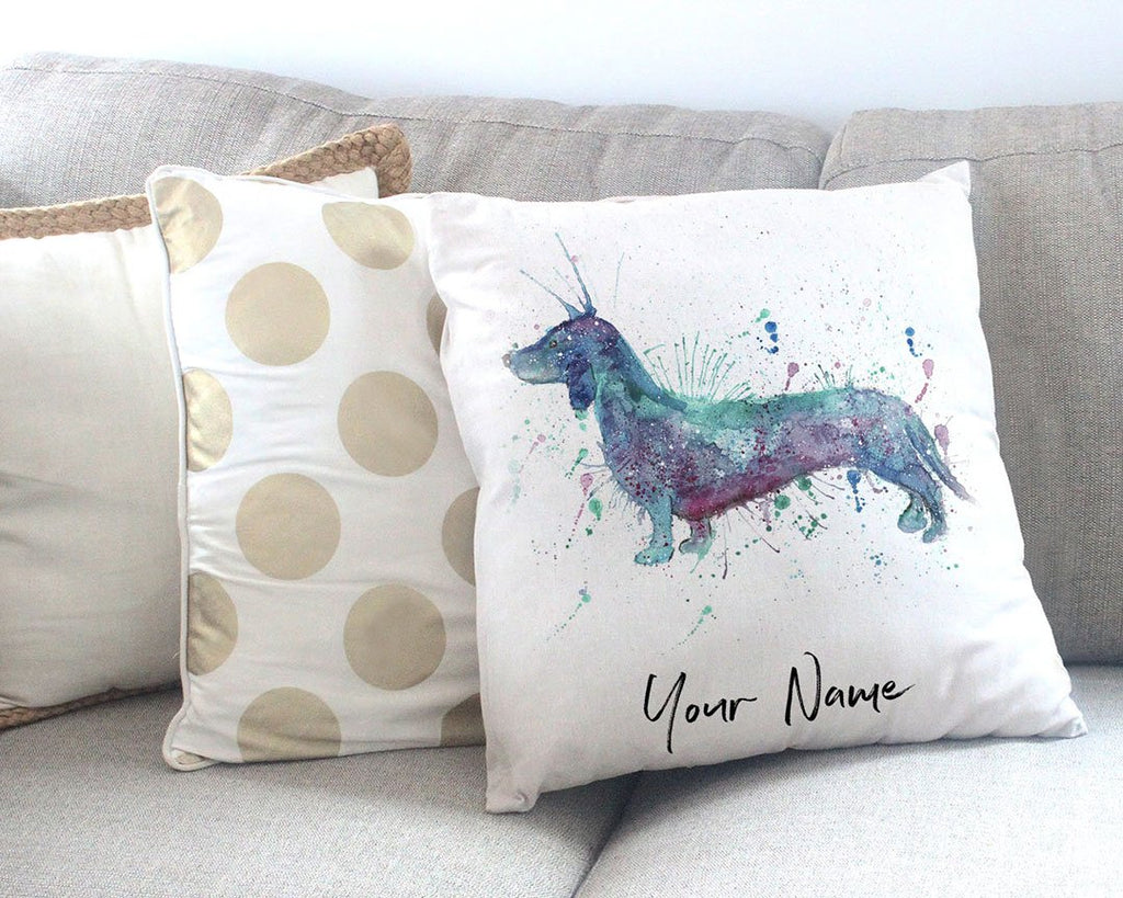 Mr Sausage Dog Personalised Canvas Cushion Cover