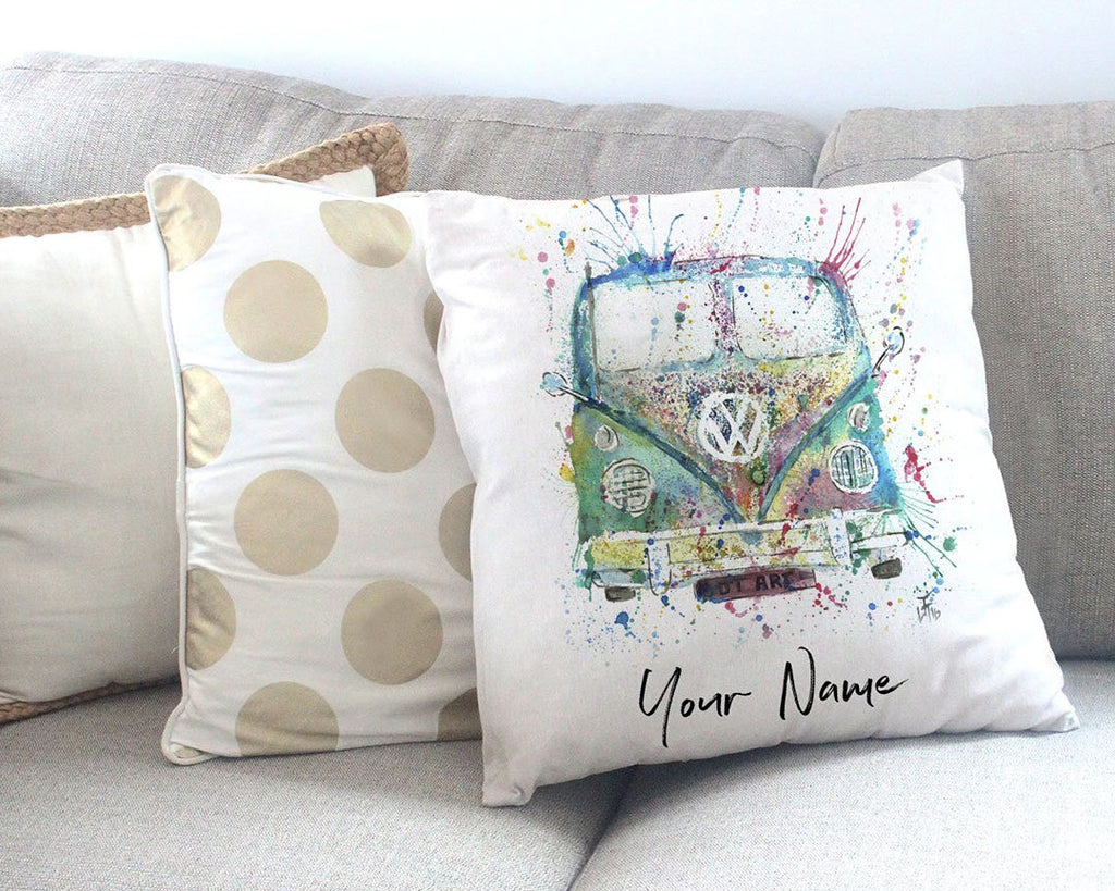 Camper Van Personalised Canvas Cushion Cover