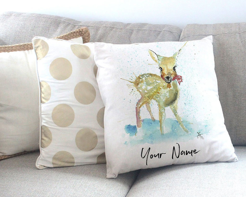 Oh Deer Personalised Canvas Cushion Cover