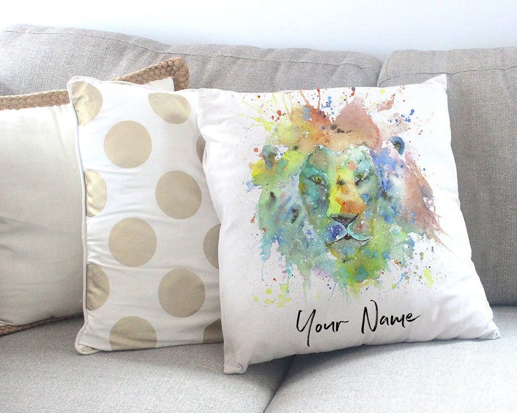 """King"" Lion Personalised Canvas Cushion Cover"