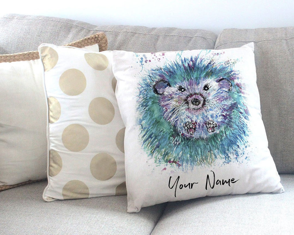 """Maisey"" Hedgehog Personalised Canvas Cushion Cover"