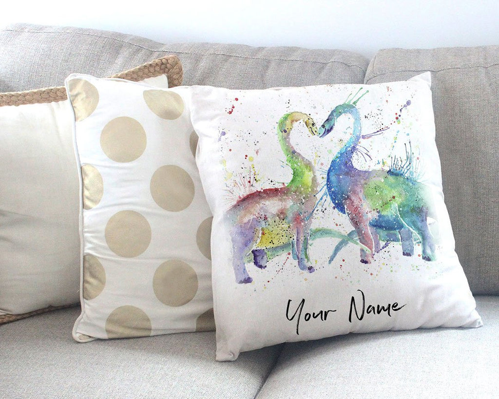 Love Dinosaurs Personalised Canvas Cushion Cover