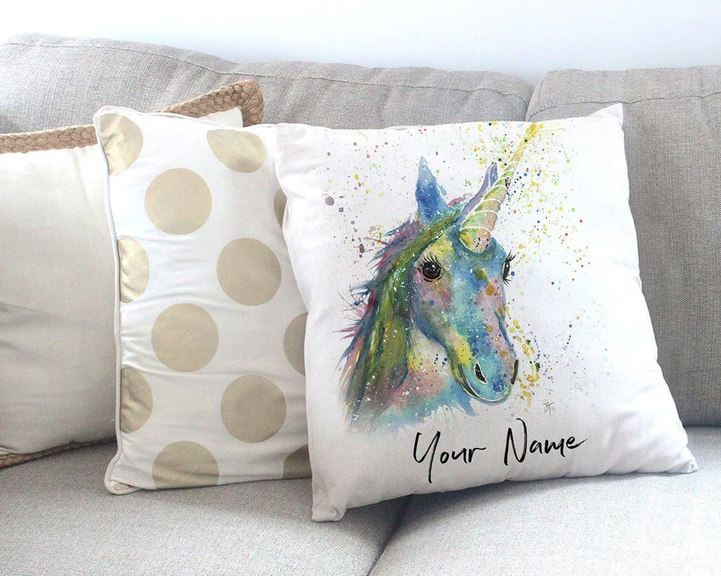 """Patty"" Unicorn Personalised Canvas Cushion Cover"