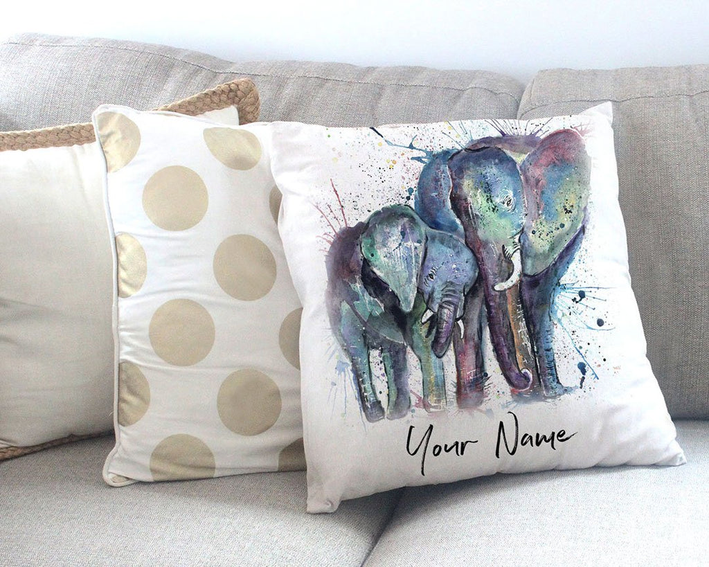 """Us"" Mummy & Babby Elephant Personalised Canvas Cushion Cover"
