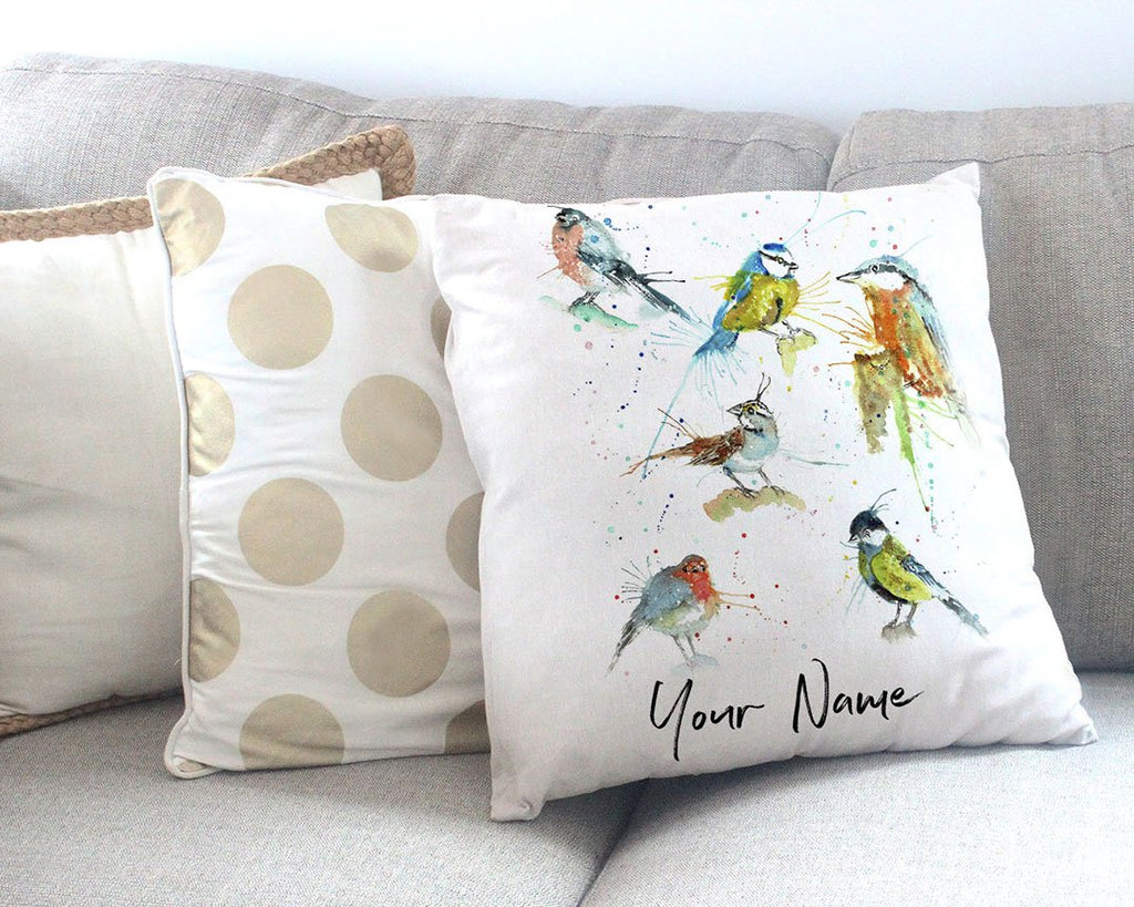 Brit Birds Personalised Canvas Cushion Cover