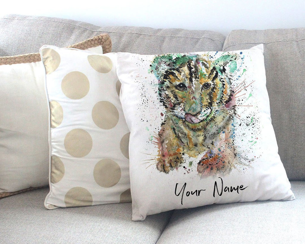 """Franklin"" Tiger Cub Personalised Canvas Cushion Cover"
