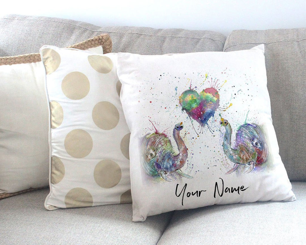 Romantic Elephants Personalised Canvas Cushion Cover