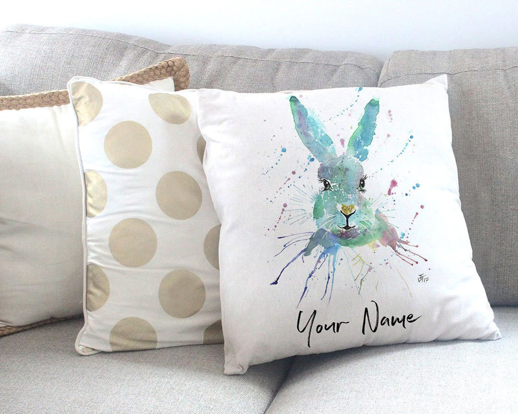 """Minty"" Hare Personalised Canvas Cushion Cover"