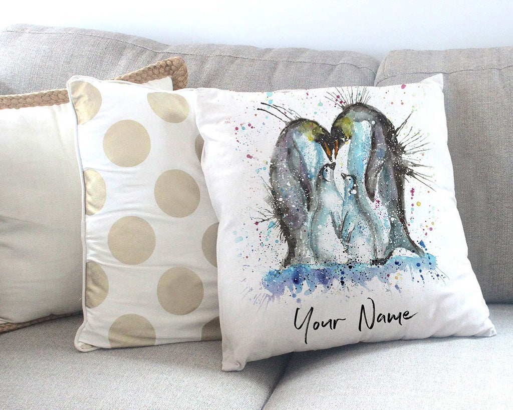 """Home"" Penguins Personalised Canvas Cushion Cover"