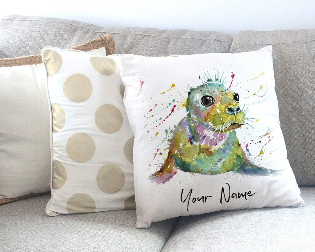 """Toby"" Seal Personalised Canvas Cushion Cover"
