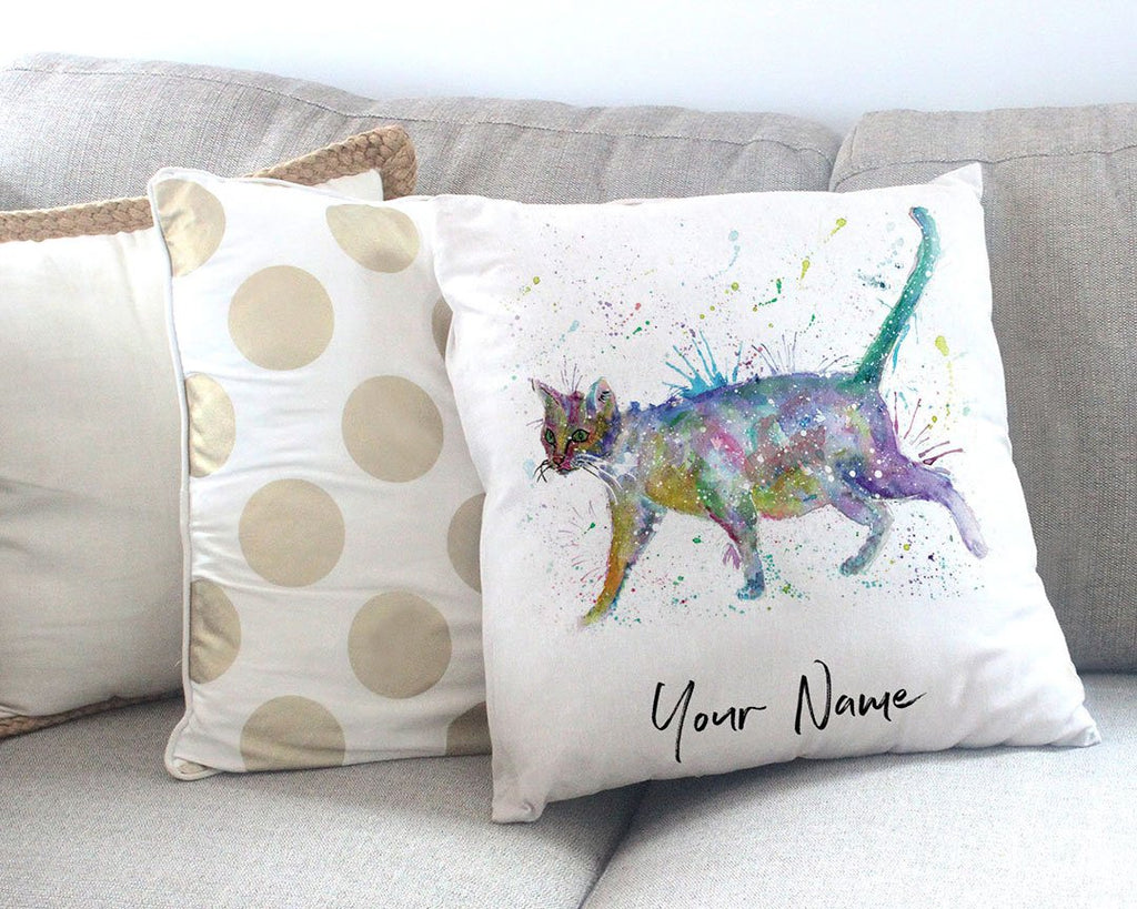 """Bob"" Cat Personalised Canvas Cushion Cover"