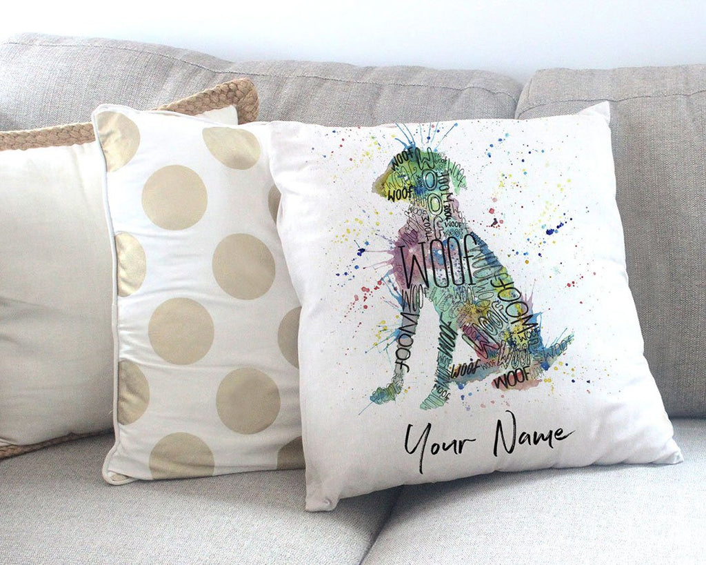 """Woof"" Blue Personalised Canvas Cushion Cover"
