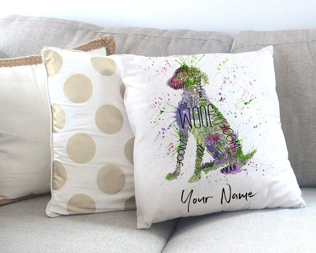 """Woof"" Green Personalised Canvas Cushion Cover"