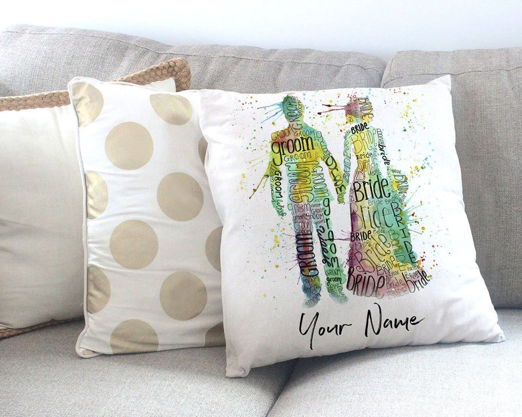 Bride & Groom Personalised Canvas Cushion Cover